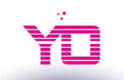 Yo y o pink purple line stripe alphabet letter logo vector templ Stock Photography