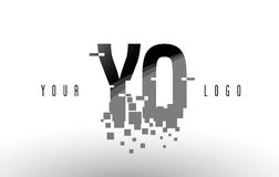 YO Y O Pixel Letter Logo with Digital Shattered Black Squares Royalty Free Stock Image