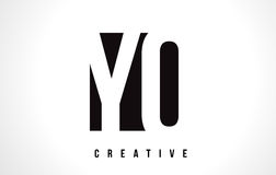 YO Y O White Letter Logo Design with Black Square. Royalty Free Stock Images