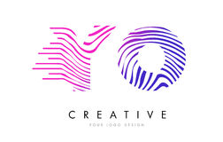 YO Y O Zebra Lines Letter Logo Design with Magenta Colors Stock Photography