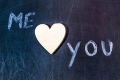 Yo y usted corazón de madera imagen de archivo libre de regalías