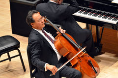 Yo-Yo Ma at Carnegie Hall. Yo-Yo Ma performing with Emanuel Ax at the Annual Isaac Stern Memorial Concert in Carnegie Hall in New York City Royalty Free Stock Photography