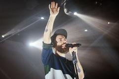 Yoann Lemoine performing at the club Cosmonavt. Stage name Woodkid Royalty Free Stock Photos