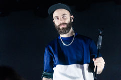 Yoann Lemoine performing at the club Cosmonavt. Stage name Woodkid Royalty Free Stock Photo