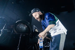 Yoann Lemoine performing at the club Cosmonavt. Stage name Woodkid Royalty Free Stock Images