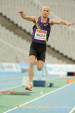Yochai Halevi of Israel. In action on Triple Jump Event of Barcelona Athletics meeting at the Olympic Stadium on July 22, 2011 in Barcelona, Spain Royalty Free Stock Photos