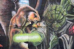 Yoda街道画艺术 库存图片