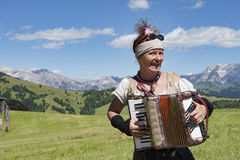 Yodeling in Alps Stock Photo