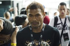 Yodsanan Sityodtong flyweight One Championship fighter. Arrival of young Thai MMA fighter Yodsanan Sityodtong before the fight of Warriors of the World by One FC stock photos
