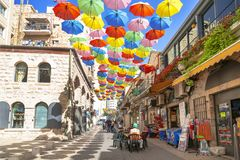 Yoel Moshe Salomon Street in Jerusalem, decorated with brightly colored umbrellas Royalty Free Stock Photography