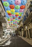 Yoel Moshe Salomon Street in Jerusalem in the historical district of Nachalat Shiva, decorated with brightly colored umbrellas Stock Photo