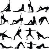 Yogaübungs-Schattenbildvektor Stockbilder