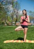 Yoga à un arrière-plan de nature Pose de équilibrage Images stock