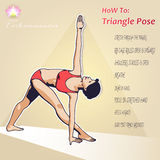 YOGA НОW TO Triangle Pose Royalty Free Stock Images