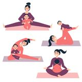 Yoga övar med behandla som ett barn sträckning av kvinnan royaltyfri illustrationer