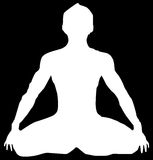 Yoga. A white lotus position with black background Royalty Free Stock Photography