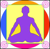 Yoga. A lotus position on colored background Stock Photography