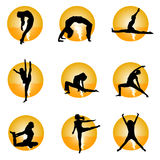 Yoga. Set of yoga icons vector Royalty Free Stock Images