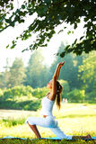 Yoga. Woman on green park background stock image