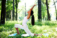 Yoga. Woman on green park background royalty free stock photo