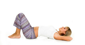 Yoga. Blond young girl wearing workout clothes. Yoga concept Stock Photo