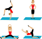 Yoga. Four different yoga poses on white Vector Illustration