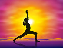 Yoga. A girl practicing yoga in the sunset. Vector illustration Royalty Free Stock Photos