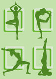 Yoga. Four silhouettes of girls practicing yoga Stock Image