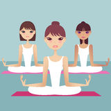 Yoga. A group of pretty lady doing yoga vector illustration