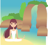 Yoga. Pretty lady doing yoga outdoor Royalty Free Illustration