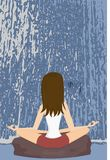 Yoga. Practising yoga on a rock, in front of a waterfall Royalty Free Stock Images
