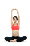Yoga. Young asian doing yoga in the  room Royalty Free Stock Photography
