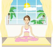 Yoga. An image showing a girl in a yoga pose royalty free illustration