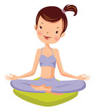 Yoga. A young girl meditatesю. cartoon vector illustration Stock Photography