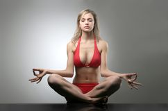 Yoga 8. A beautiful woman in yoga position Stock Images