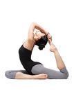 Yoga. Young yoga female doing yogatic exericise Stock Images