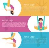Yoga aérien Accrocher de fille Photographie stock