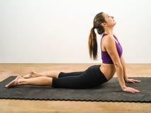 Yoga abdominal stretches Stock Photo