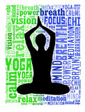 Yoga actions in word cloud Royalty Free Stock Images