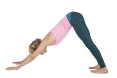 Yoga_Adho Mukha Svanasana 库存照片