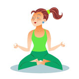 Yoga adult woman meditating. Yoga is a grown woman a girl sitting meditation in the Lotus position royalty free illustration