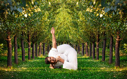 Yoga advance pose in forest Stock Photo