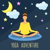 Yoga adventure theme. Trendy flat style. Royalty Free Stock Images