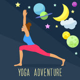 Yoga adventure theme. Trendy flat style. Royalty Free Stock Photos