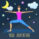 Yoga adventure theme. Trendy flat style. Stock Photo