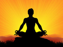 Yoga al tramonto Fotografie Stock
