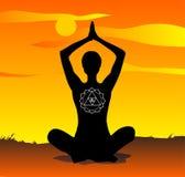 Yoga al vettore di tramonto Immagine Stock