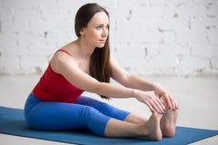 Yoga all'interno: Posa di Paschimottanasana Fotografia Stock