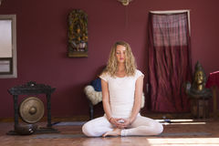 Yoga. Amazing beautiful  young woman does yoga in the room Royalty Free Stock Photos