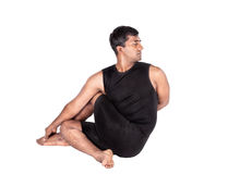 Yoga ardha matsyendrasana on white Royalty Free Stock Photo